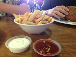 Chips, house made aoili and tomato sauce